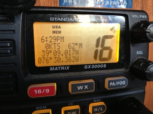 Our VHF Radio showing our current coordinates.