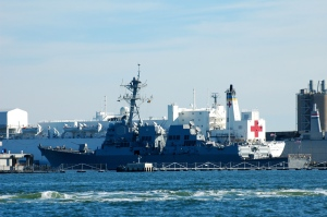 "More big ships and the US Naval Hospital Ship ""Comfort."""
