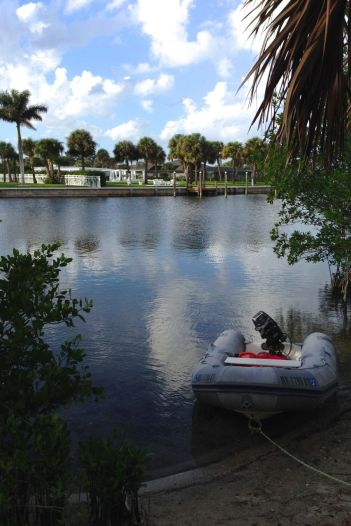 Our dinghy parked near the beach.