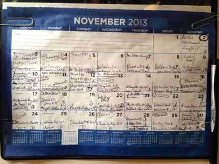 I have been keeping track of anchorages, etc. on our paper calendar!