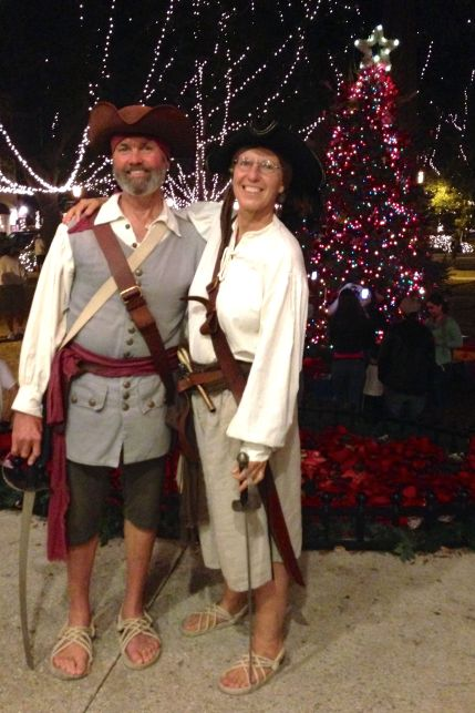 Our pirate friends again, being peaceful pirates in front of the tree.