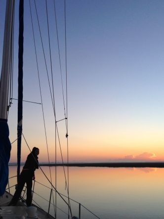 Me at sunrise.  Pulling up anchor at Wahoo River, Georgia.