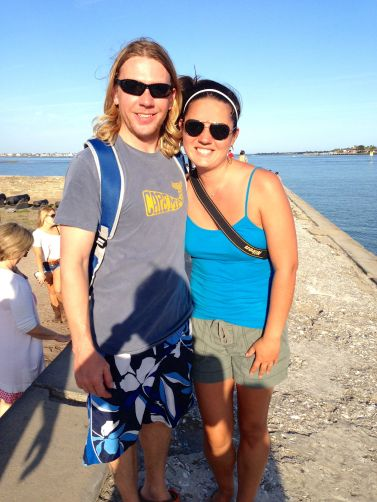 Here's us at the fort.  You gotta love the photo skills of a passing stranger!  I guess she wanted to be in the pic too!