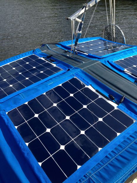 Panels all snug in their lapels on the bimini.