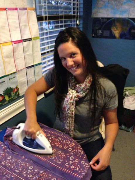 Me, ironing in the lounge :)