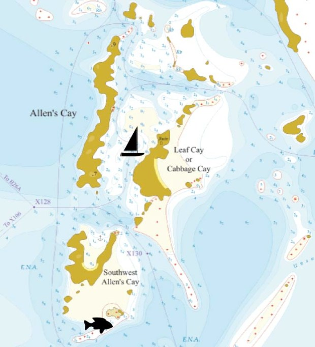 Map of Allen's Cay.  Sailboat=Anchorage Fish=Snorkeling Spot