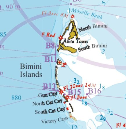 "These are Bimini Islands.  We were tied up in North Bimini, about where the ""F Red"" star is on the chart."
