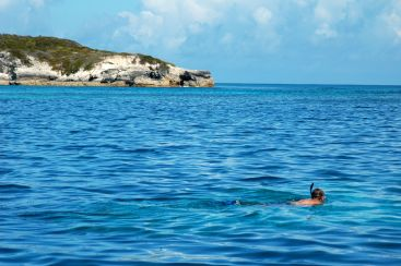 Jake snorling in White Cay (looking for the sea turtle.)