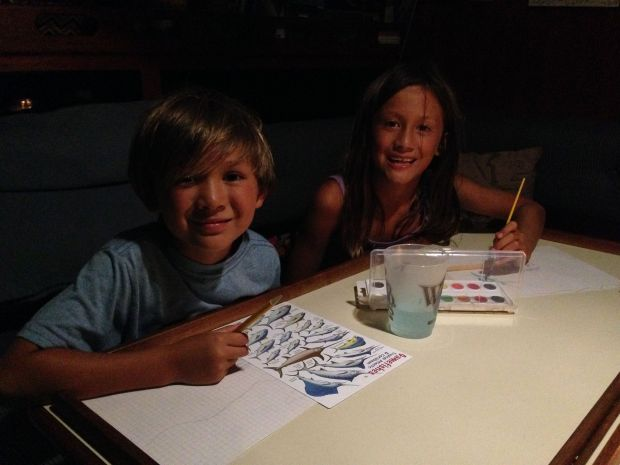 Dylan and Maura drawing and painting on Journey!