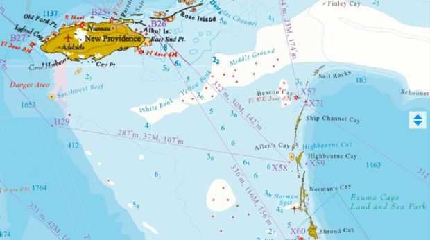 A map of New Providence Island (Nassau) and the Exuma Cays.