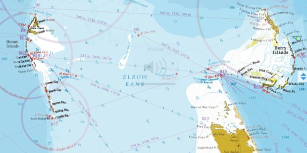 Map of Bimini to Great Harbor Cay in The Berry Islands.