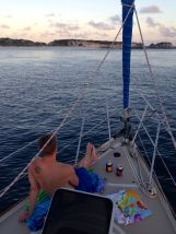 Anchor down in White Cay. One of the most beautiful anchorages we've seen so far.