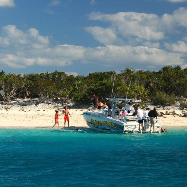 """""""Iguana Island"""" and the tourists."""