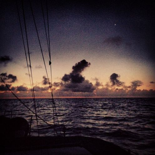 This was the sunrise that welcomed us to Great Harbor Cay.  The little light in the sky is Venus <3