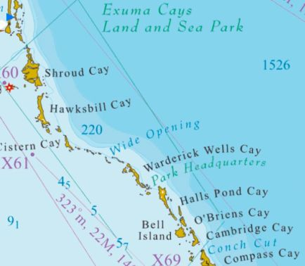 Map of the Exuma Cays Land and Sea Park!