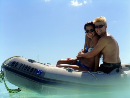 """Us with our new """"go fast"""" dinghy! Thanks Fla!"""