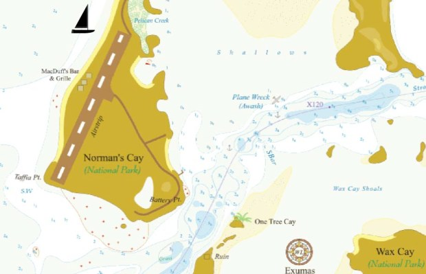 Map of Norman's Cay.  Sailboat=Anchorage and you can see the plane wreck in the middleish.  Also look for One Tree Cay :)