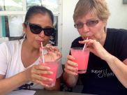 The ladies drinking at lunch.