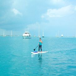 Me paddling to yoga! Can you imagine? Paddling every morning to free yoga. I was in HEAVEN!