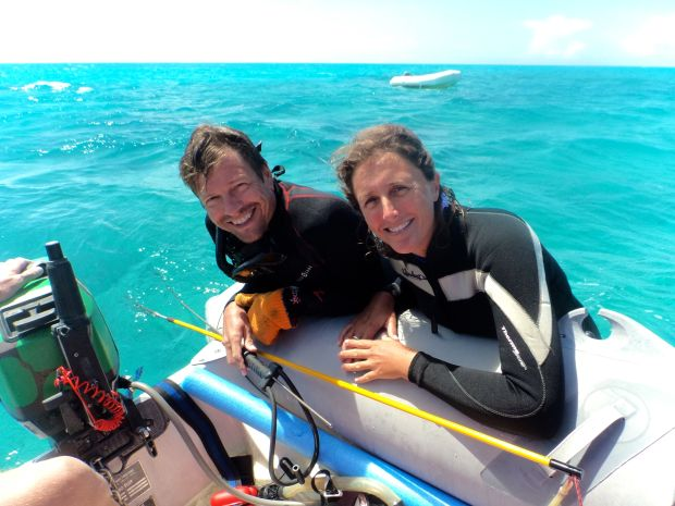 Scott and Kim, resting after a spear fishing bust!
