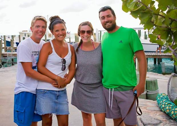 Us, Kim, and Jereme at Staniel Cay Yacht Club.  It was a fun and cheap night!