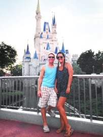 Us in front of Cinderella's Castle. (And my first time using an adjustment layer in Photoshop :)