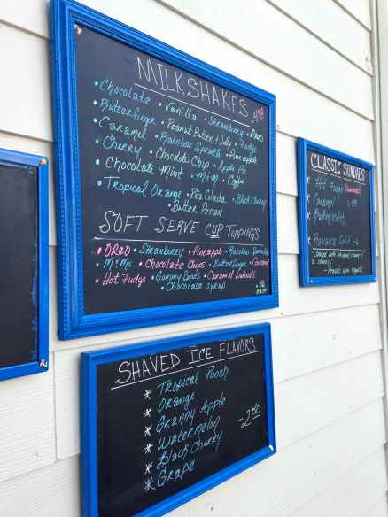 The menu at the very yummy ice cream shop, Spikes Dairy Bar!