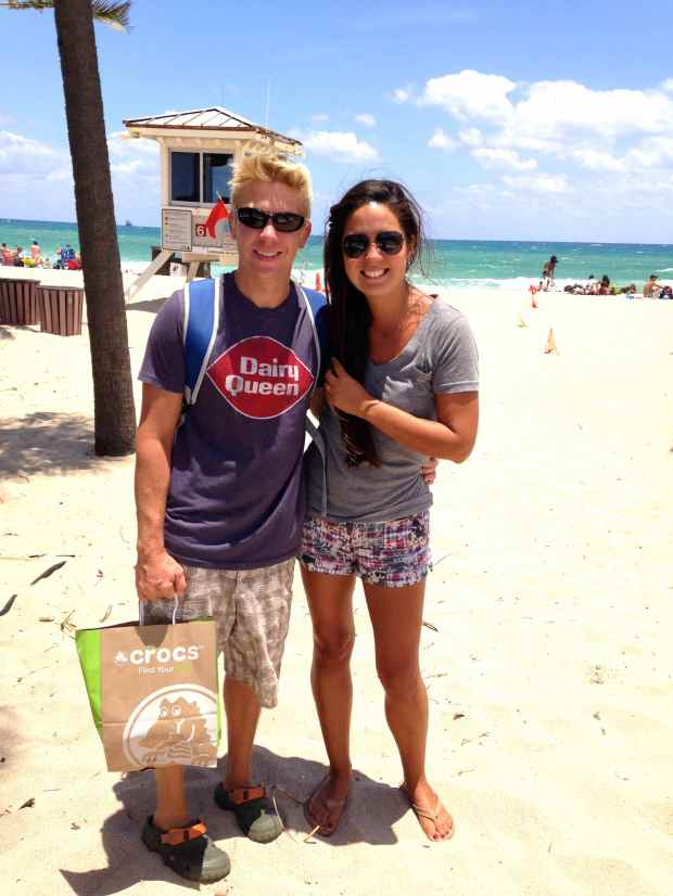 This is us at the beach in Ft. Lauderdale.  Obviously, we had been doing a little shopping :)