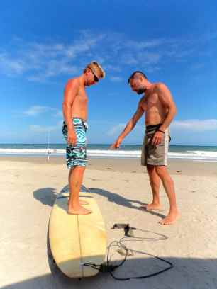 Surfing lesson #1: Stand here.