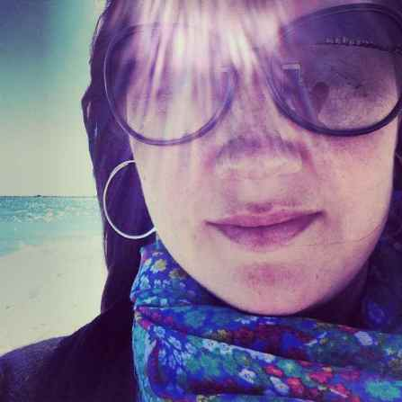 Rockin' the S&D hoops and a colorful scarf in South Beach ~ January 2014.