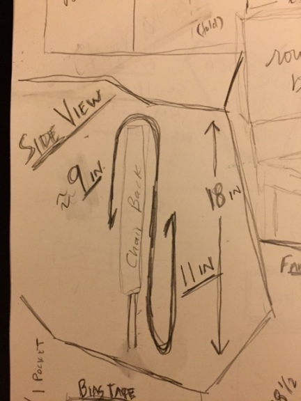 Here's my sketch up of the chair pocket, side view.