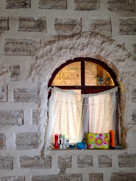 The window in our salt room.  Those are salt bricks!